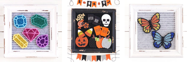 Rustic letterboard handmade felt accessories for seasonal home decorating with rae dunn spring easter fall halloween christmas holidays on Etsy shop A Peace of Creativity