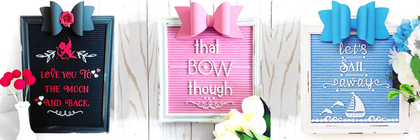 rustic felt message boards in blue felt pink felt and black felt with handmade paper bows available on Etsy