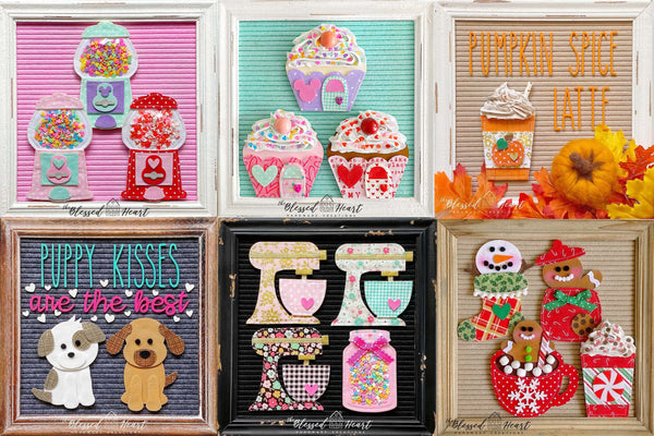 white rustic framed bright blush hot pink and farmhouse mint felt letterboards with handmade fabric Etsy accessories and icons gumball machine cupcake and valentine's day by the blessed heart