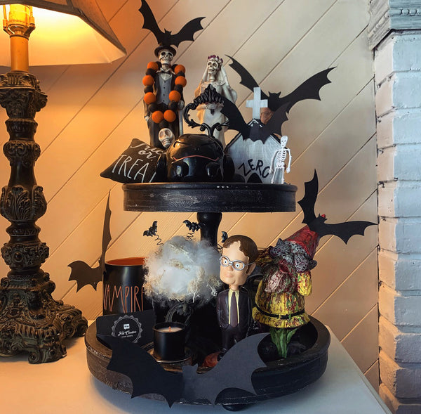 My husband Bobby's entry for the Felt Creative Home Goods Partner Tiered Tray Challenge during pandemic isolation for some family fun and funny decor ideas