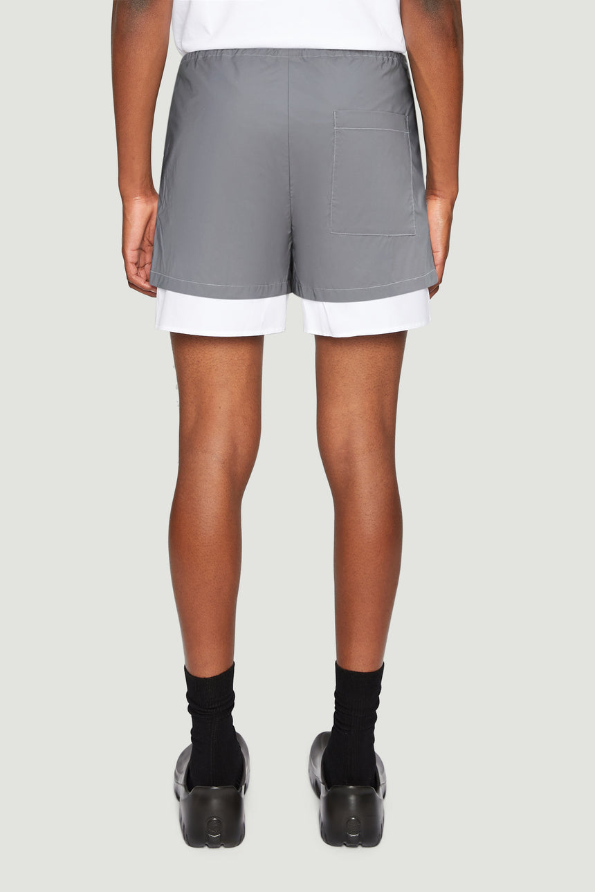 Reflective layered shorts white
