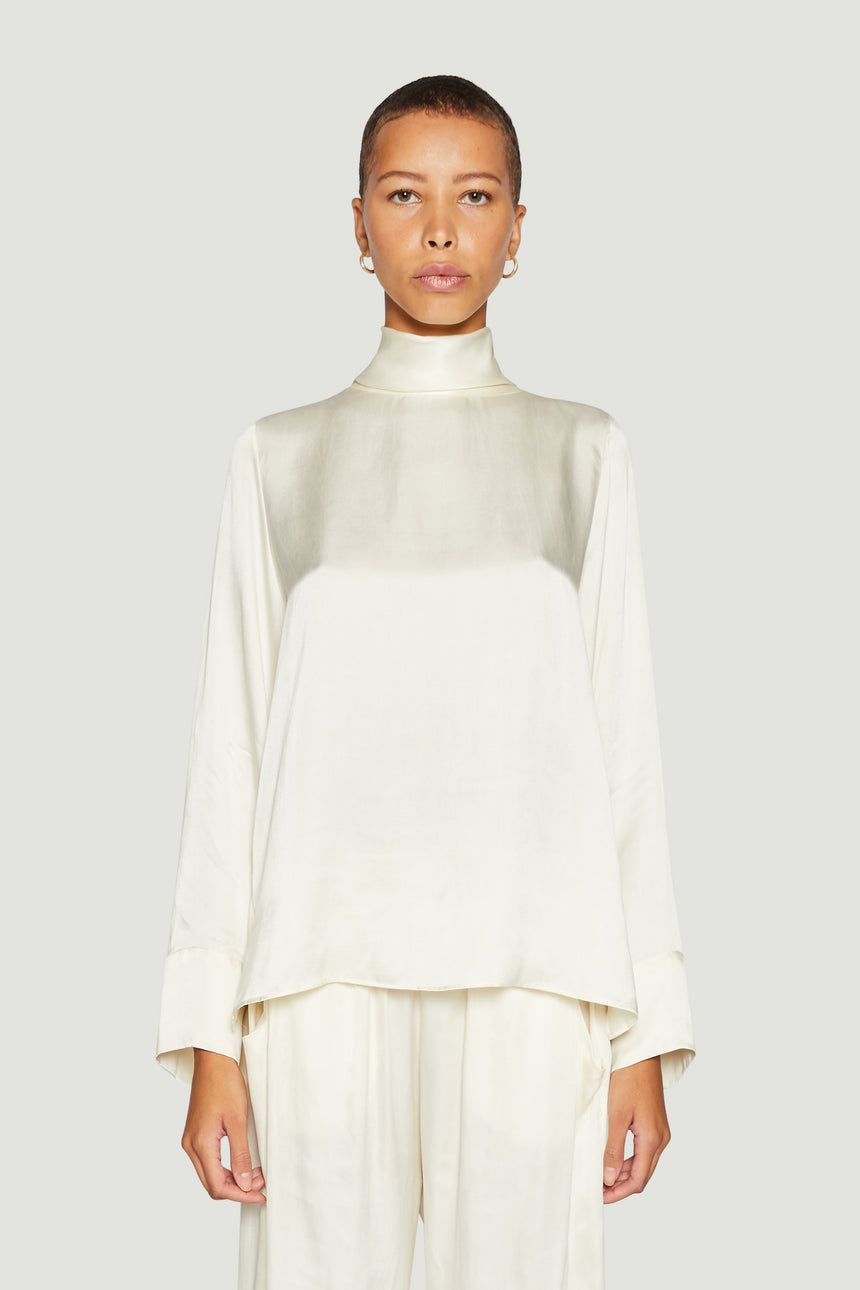 High Neck Blouse Ivory