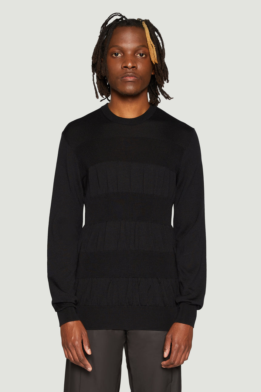 Rib-detail knit jumper black