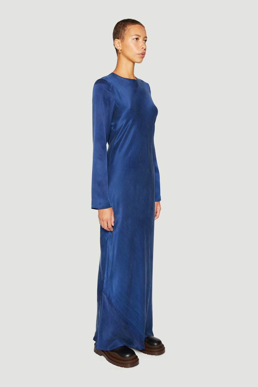 Round-Neck Bias Maxi Navy