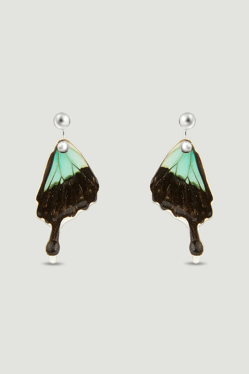 Butterfly Earrings - Green & Black