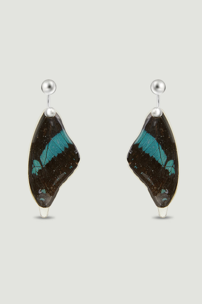 Butterfly Earrings - Blue & Black
