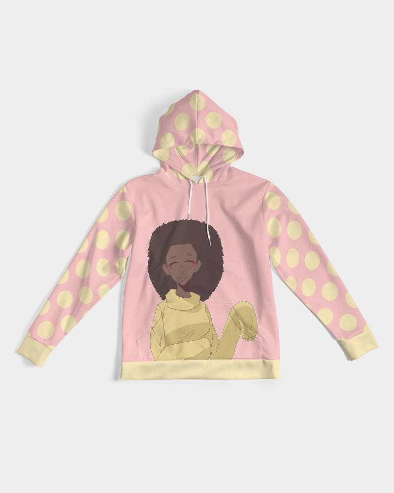pale pink woman of color anime style graphic hoodie