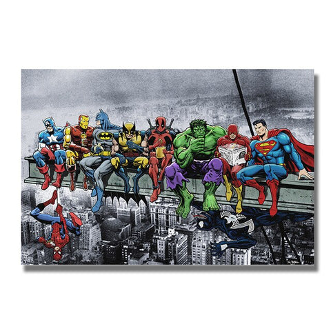 Marvel and DC Superheroes Lunch Atop A Skyscraper - Geek Zones