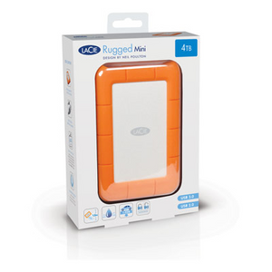 4TB Lacie Rugged Mini USB3.0 Portable External Hard Drive, Orange