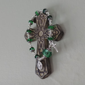 Light green and silver Rosary bead bracelet