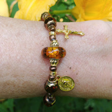 Load image into Gallery viewer, Amber and gold Rosary bracelet