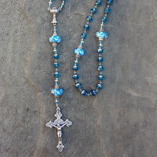 Load image into Gallery viewer, Aqua and silver Rosary beads