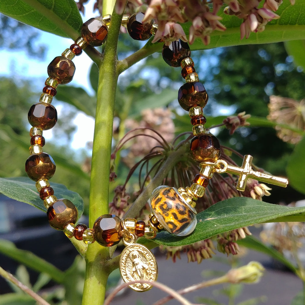 Amber and gold Rosary bracelet