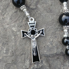 Load image into Gallery viewer, Onyx and silver Rosary beads