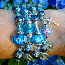 Load image into Gallery viewer, Aqua and silver Rosary bracelet