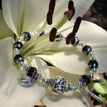 Load image into Gallery viewer, Black and silver Rosary bracelet