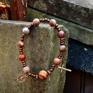 Natural stone and bronze Rosary Bracelet