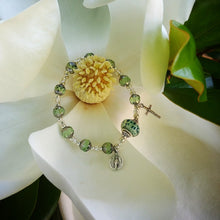 Load image into Gallery viewer, Peridot and silver Rosary bracelet
