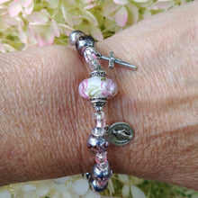 Load image into Gallery viewer, Pink and silver Rosary bracelet