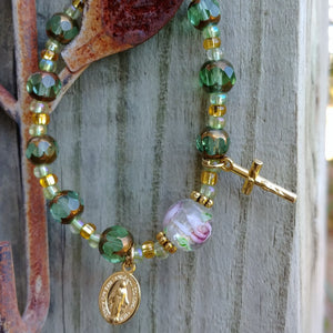 Peridot and gold Rosary bracelet