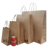 Twisted Handle Brown / White  Kraft Paper  Bags with 4 Col Print  for Restaurants (100gsm) 10000Pcs