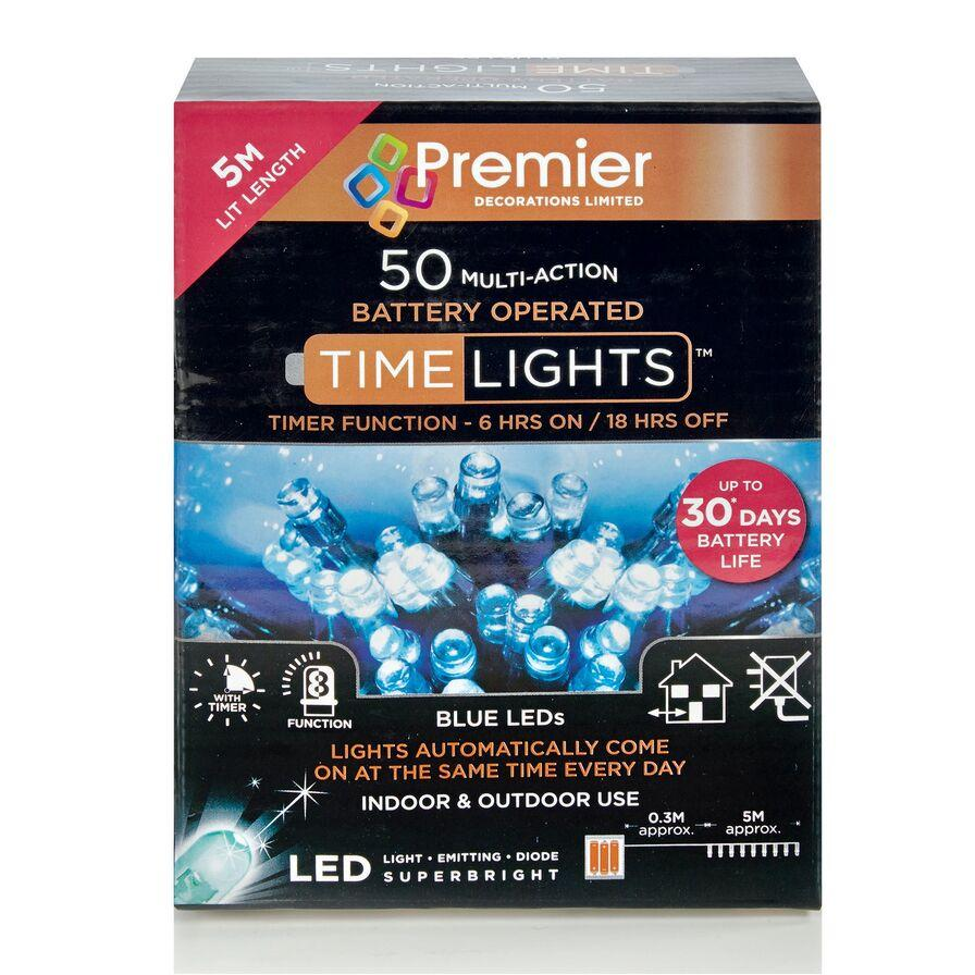 Nitelights 50 Battery-Operated Multi-Action LED Lights (Blue) - Premier®