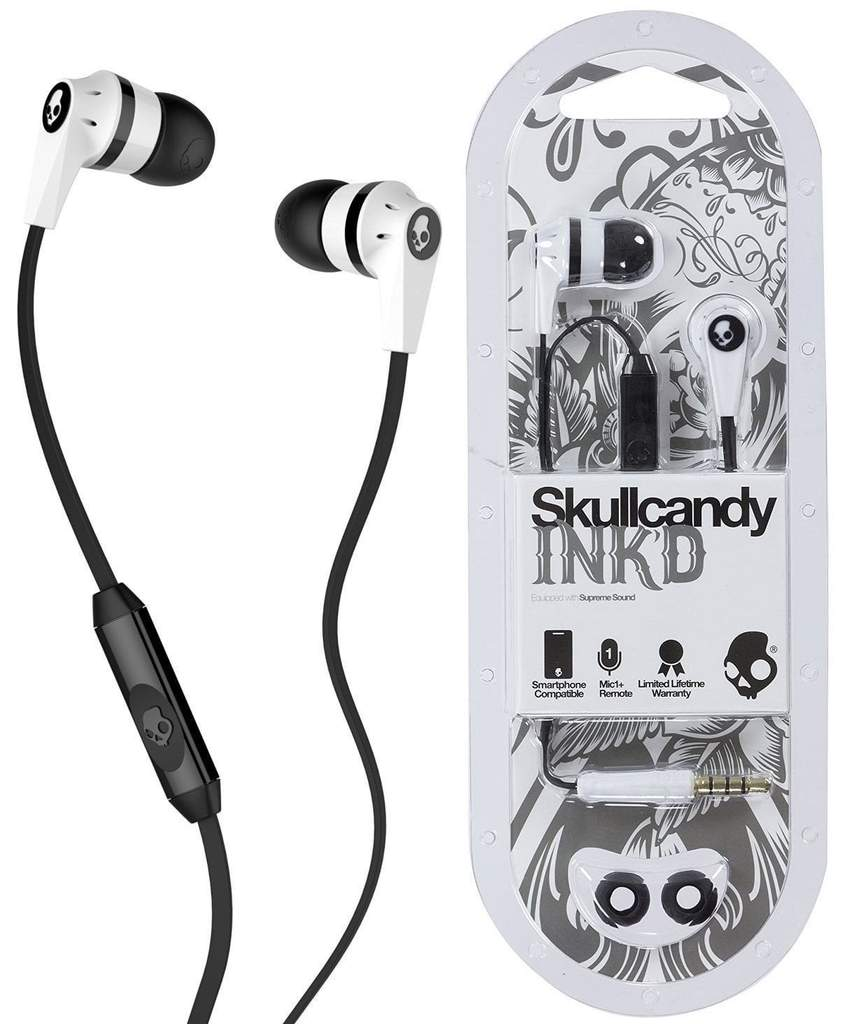 Skullcandy 1 3.5mm Connector Ink'd 2.0 Earbud Headphones with Mic - White