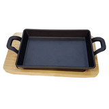 Cast Iron Sizzler Tray with Wooden Base