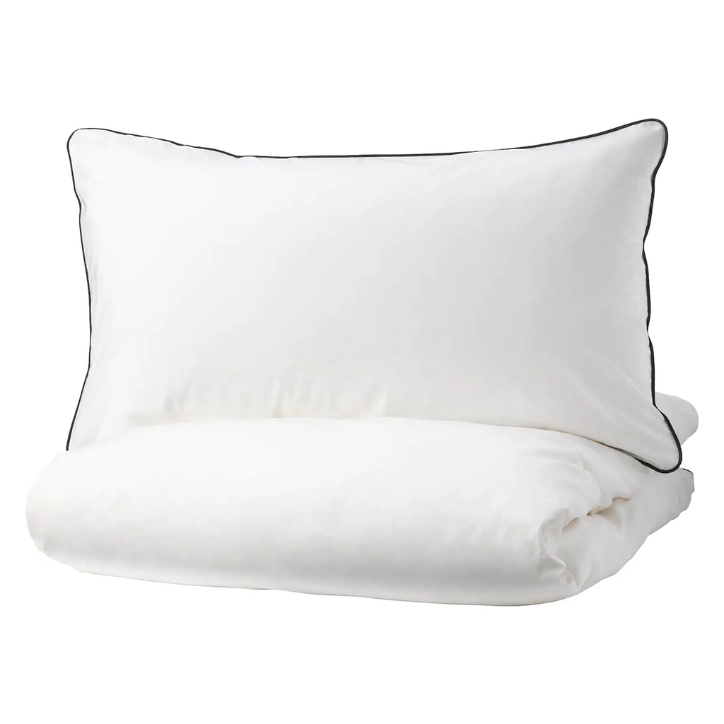 Quilt cover and pillowcase, White & Grey 150x200/50x80 cm - KUNGSBLOMMA
