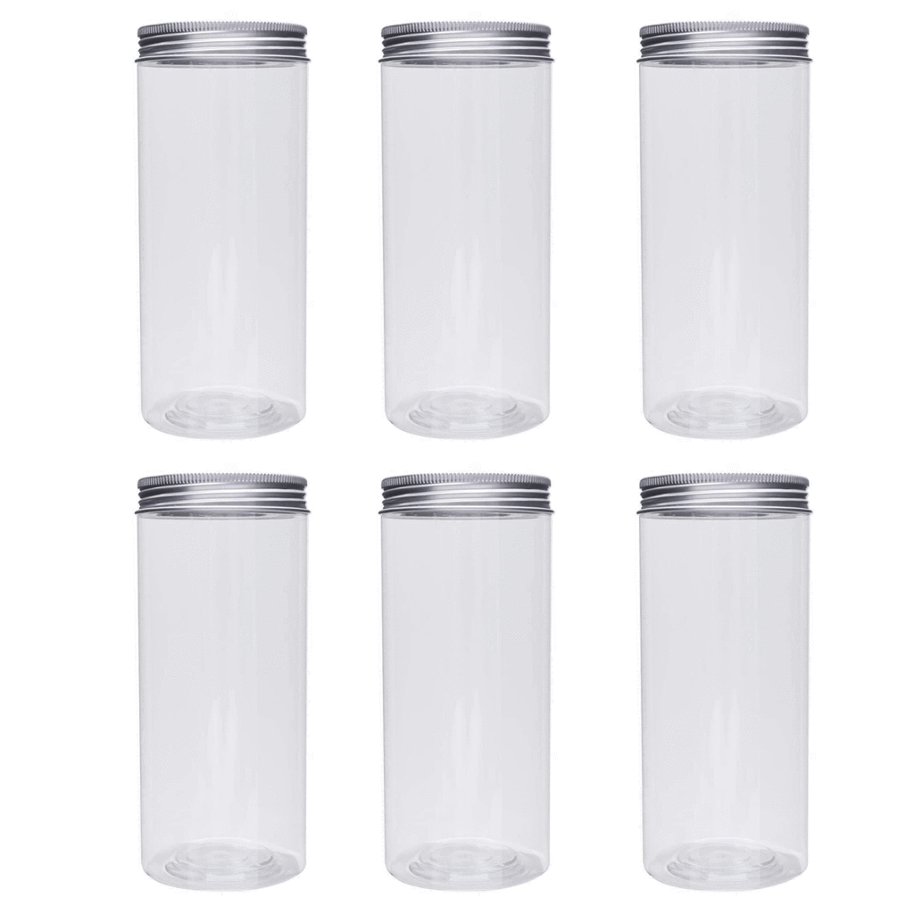 Plastic Storage Jars with Screw on Lids (15x6 Cms) 12Pcs Pack - wILLOW
