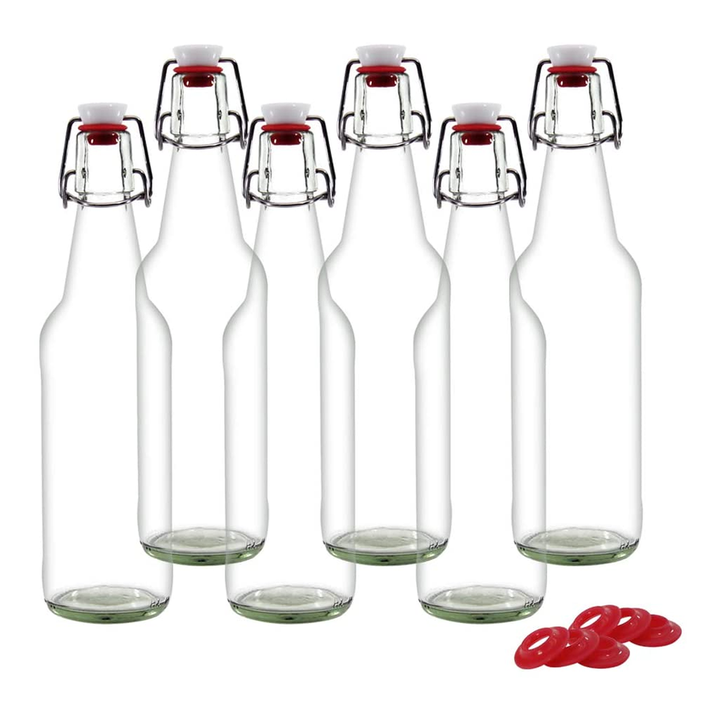 Clear Glass Bottles for Home Brewing with Easy Wire Swing Cap - 6 Pc Pack