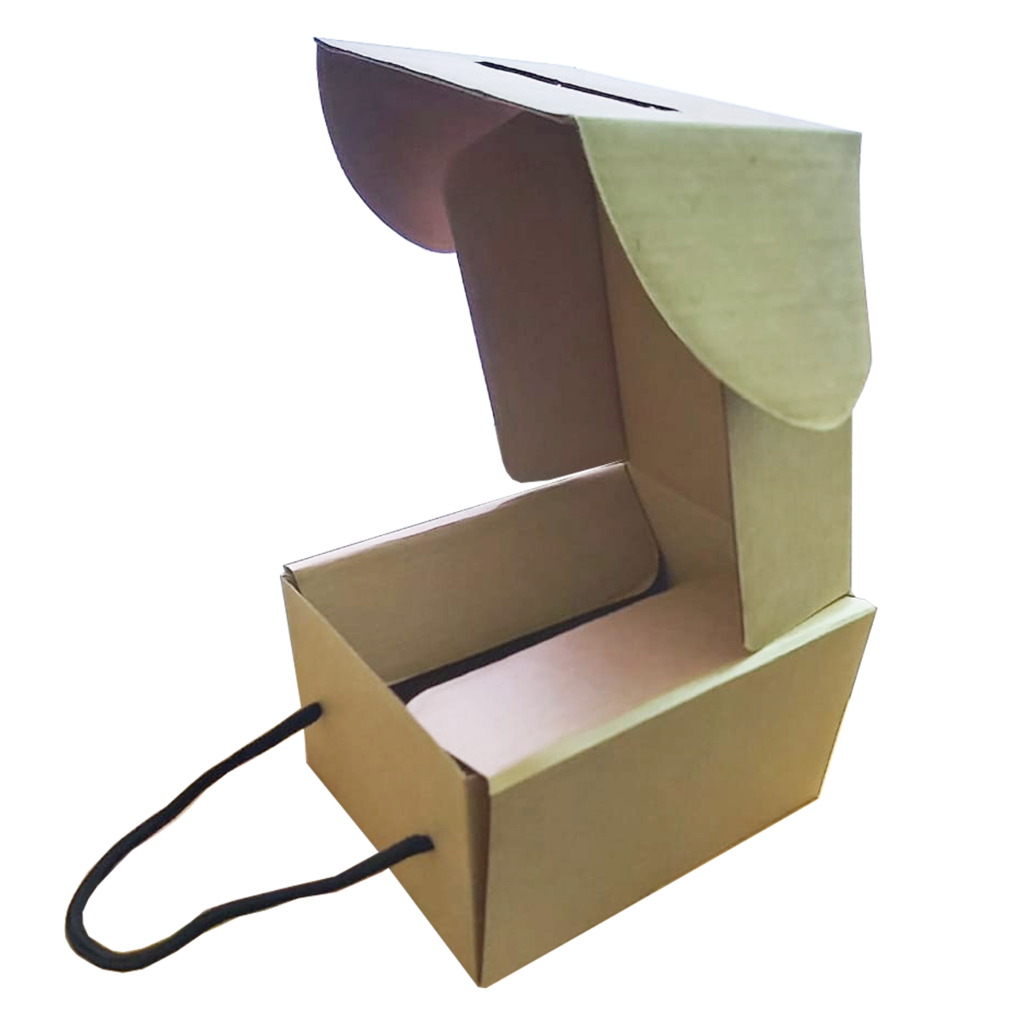 Kraft Paper Box  with Handle 17x17x10Cm (10Pc Pack) - Willow