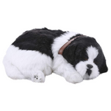 Faux Fur Sleeping Dog Decor  Black And White - Daweigao