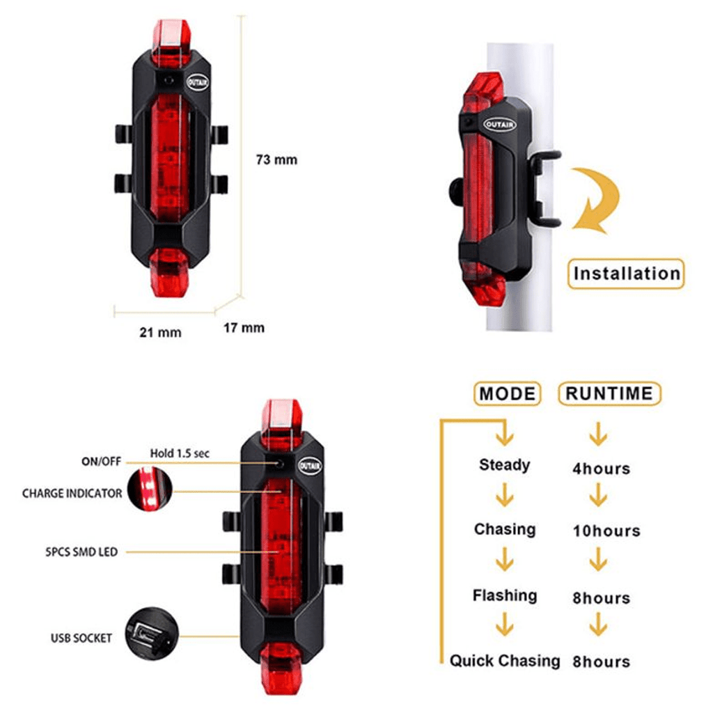 5-LED USB Rechargeable Bicycle Light - VLRA