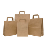 Flat Handle Brown / White  Kraft Paper  Bags with 4Col Print for Restaurants (100gsm) 10000Pcs