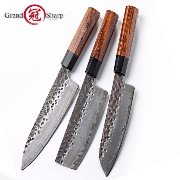 Handmade Japanese Kitchen Knives with Natural Wood Handle