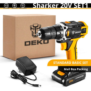 DEKO New Sharker 20V Cordless Drill Driver Screwdriver Mini Wireless Power Driver DC Lithium-Ion Battery 18+1 Settings