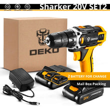 Load image into Gallery viewer, DEKO New Sharker 20V Cordless Drill Driver Screwdriver Mini Wireless Power Driver DC Lithium-Ion Battery 18+1 Settings