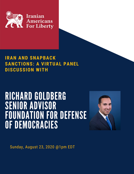 Iran & Snap Back Sanctions: A Virtual Panel Discussion with Richard Goldberg