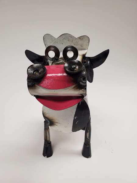 Cow Spring Neck - Scrap Metal Figurine