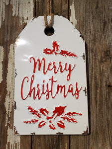 Merry Christmas - Metal Sign - Gift Tag - Christmas Decor