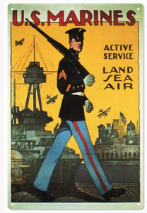 US Marines Active Service - Tin Sign