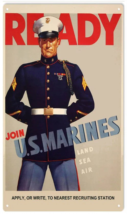 US Marines Ready - Tin Sign