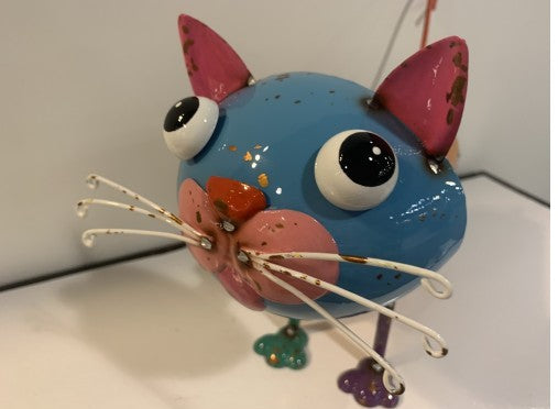 Cat with Blue Head - Scrap Art Figure