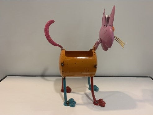 Cat Planter - Scrap Metal Figure