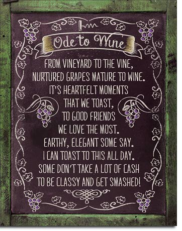 Ode to Wine - Tin Sign