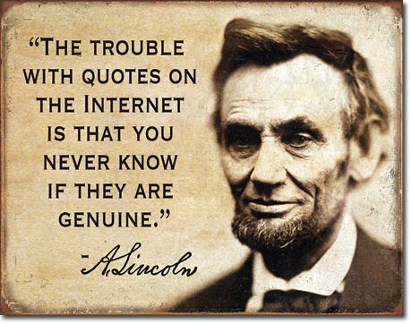 Lincoln Quotes on the Internet - Tin Sign