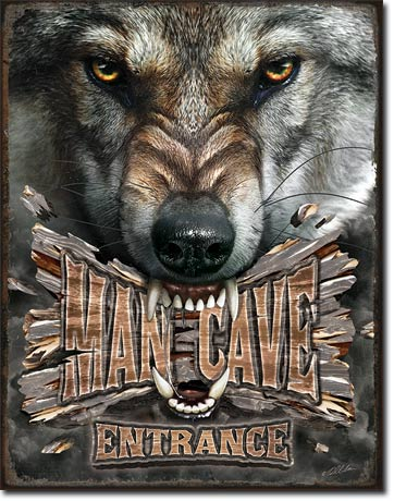 Man Cave Wolf - Tin Sign