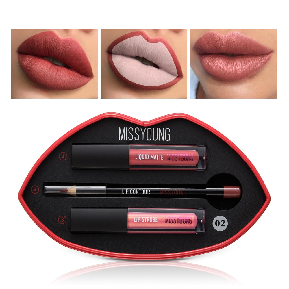 Makeup Lipstick Set Matte Lipsticks Waterproof Long Lasting Gloss Lips Sexy Makeup Matte Lip gloss Beauty Lip pencil Makeup Kit