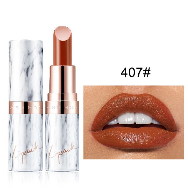 9 Colors Moisturizing Lipstick Velvet Matte Long Lasting Lipstick Marble Pattern Tube Sexy Brown Red Lip Stick Makeup Cosmetics
